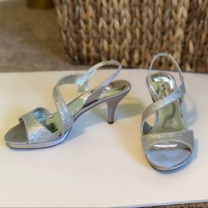Nina New York Silver Glitter Strappy Sandals 👡